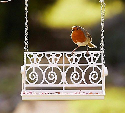 Garden Mile weiß Französisch Shabby Chic Garten Bank Schaukelsitz Futterstelle für Vögel Deko Vogel Futterstation Samen Mutter rindernierenfett Zubringer für Station für Verzierungen Rustik Wandbehang