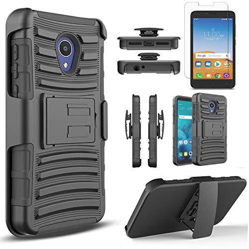Alcatel Avalon V Phone Case, IdealXtra 5059R Case, 1X Evolve , TCL LX A502DL Case, with[Tempered Glass Screen Protector], Circlemalls Built-in Kickstand Belt Clip Heavy Duty Protective Phone Cover-Blk