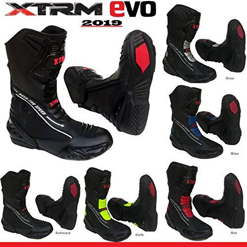 Sportstiefel XTRM EVO Motorrad Lederstiefel Motorradstiefel Semi Sports Racing Allround Motorroller Rennen TourenSchuhe, Mehrere Farben (SCHWARZ - EU 39)