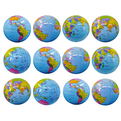 TURNMEON 12 Pack World Globe Beach Balls Inflatable Pool Toys Games 16' Giant Outdoor Beach Pool Party Balls Swimming Water Pool Toys Party Supplies for Adult Kids Beach Floats with Skin-Friendly PVC