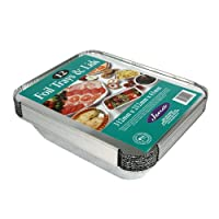 12 Large Foil Trays with Lids Size 312mm x 252mm x 61mm Great for Rice, Pasta, meat & pies, even a roast Perfect for storing food in the fridge or freezer Jena branded product manufactured in the UK.