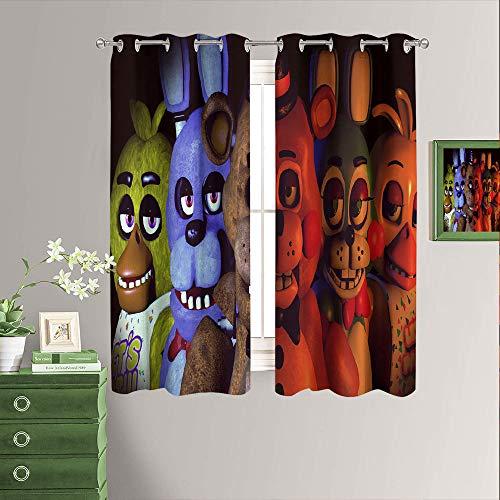 Five Nights at Freddy's - Cortinas opacas con aislamiento térmico para oscurecer la habitación, con ojales, para sala de estar, 52 x 63 pulgadas