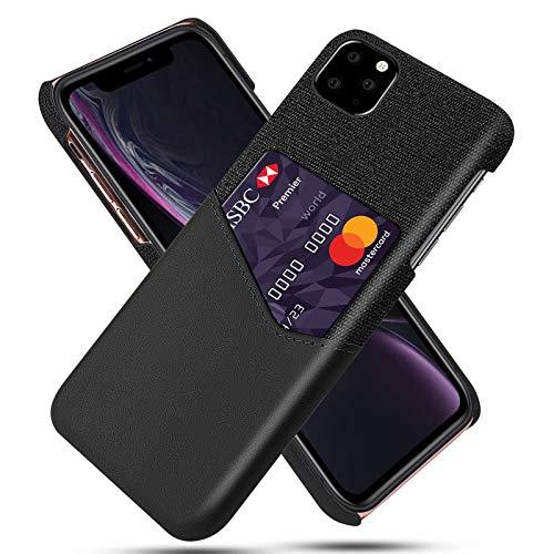 Funda para Iphone11/11Pro/11Pro MAX Carcasa Cartera de Cuero y Tela con Ranura para Tarjetas y Billetera Anti Choque Funda de Cuero Negocios Back Cover,Negro,11pro