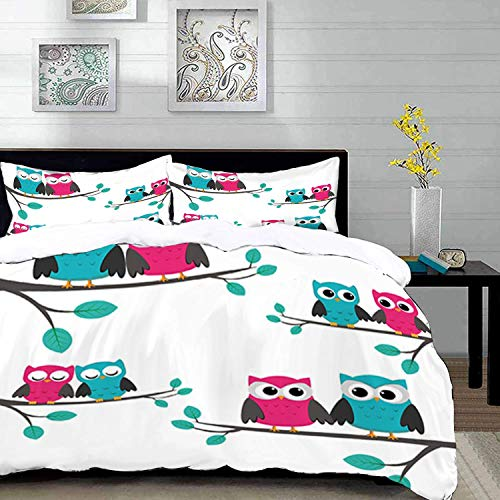 Qoqon bedding - Duvet Cover Set, Nursery,Couples of Owls Sitting on Spring Branches Cute Funny Cartoon Characters,Turquoise Blue,Microfibre Duvet Cover Set with 2 Pillowcase 50 X 75cm