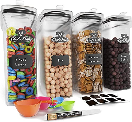 Cereal Container Storage Set - Airtight Food Storage Containers, Kitchen & Pantry Organization, 8 Labels, Spoon Set & Pen, Great for Flour - BPA-Free Dispenser Keepers (135.2oz) - Chef's Path