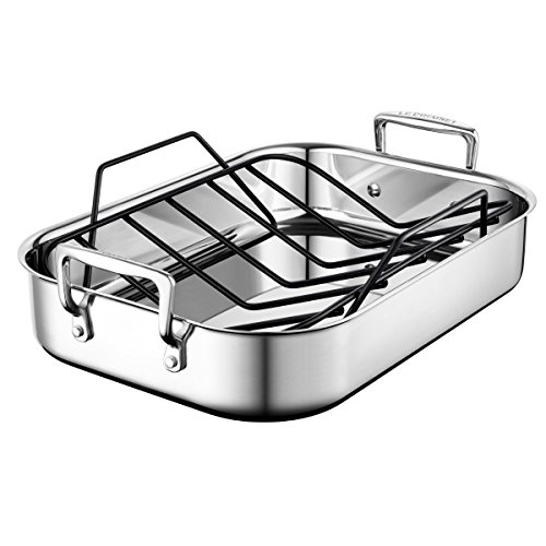 """Le Creuset Stainless Steel Roasting Pan with Nonstick Rack, 14"""" x 10"""""""