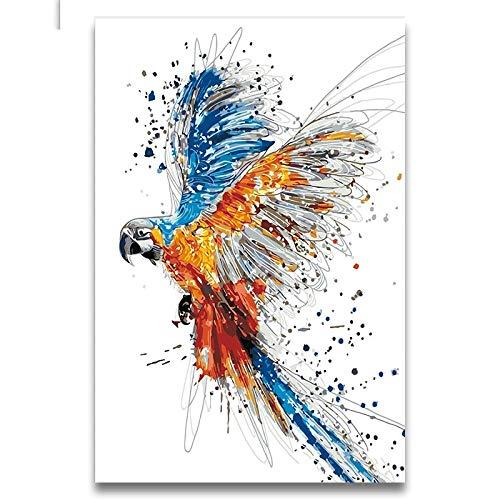 Pintura Al Óleo Original para Pintado A Mano,Parrot Pintados Novedad Animal Moderno Abstracto Lienzo Coloridas Ilustraciones De Cuadros Pintados A Mano para La Decoración Dormitorio Salón De Arte M