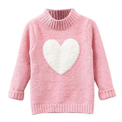 Zhen+ Unisex Baby Kinder Strickpullover Sweater Pullis für 1-8 Jahre Mädchen Jungen Rundhal Langarm Heart Muster Warm Pullover Sweatshirt Winterpullover (6-7 Jahre, Rosa)