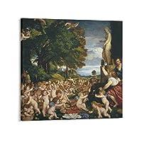 Titianティツィアーノヴィーナスへの奉仕 キャンバスアートポスターとォールアートピクチャープリント現代の家族の寝室のインテリアポスター12×12inch(30×30cm)