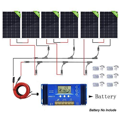 ECO-WORTHY 720 Watt 24 V Solarpanel-Komplett-Set: 6 PCS PV Solarpanel mit 60 A Controller für Boote, Zelte, Solar-Beleuchtung und andere Outdoor-Ausrüstungen