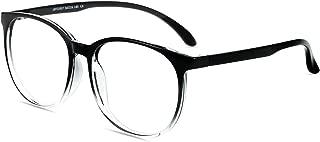 Firmoo Blue Light Blocking Glasses, Anti Eyestrain Computer Glasses, Round Black Clear Eyeglasses for Women Men