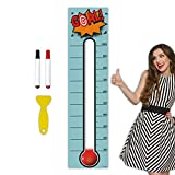 Goal Thermometer Chart Goal Tracker - 48'x12' Adhesive Dry Erase Fundraising Thermometer Sticker