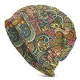 Whecom Gorro de Punto Cartoon Handdrawn Doodles On Subject Hippie People Hippy Signs Knit Beanie Hat Cap Winter Caps Hats Cuffed Plain Skull Cap for Men Women