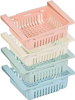OFNMY 4pcs organisateur de tiroir rétractable idéal pour réfrigérateur, cuisine, garde-manger, réfrigérateur