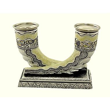 Judaica Silver Plated Enamel Candlestick 2 Shofar Shabbat Holiday Horn Shape