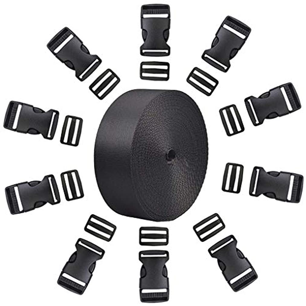 10 PCS 1 Inch Flat Side Release Buckles and Tri-Glide Slides with 1 Roll 1