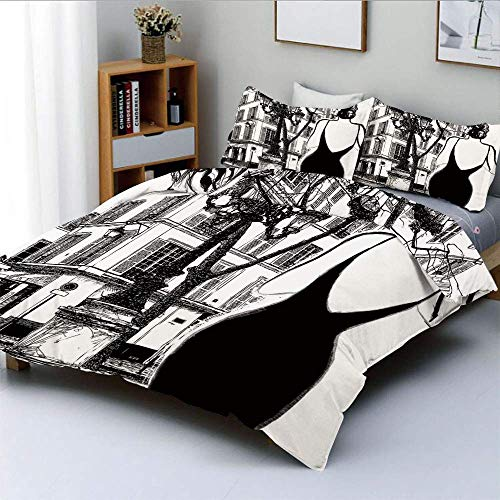 Qoqon Duvet Cover Set,Young Elegant Woman in a Black Dress in Paris Street Old Building Facade CityscapeDecorative 3 Piece Bedding Set with 2 Pillow Sham,Best Gift for Kids & Adult