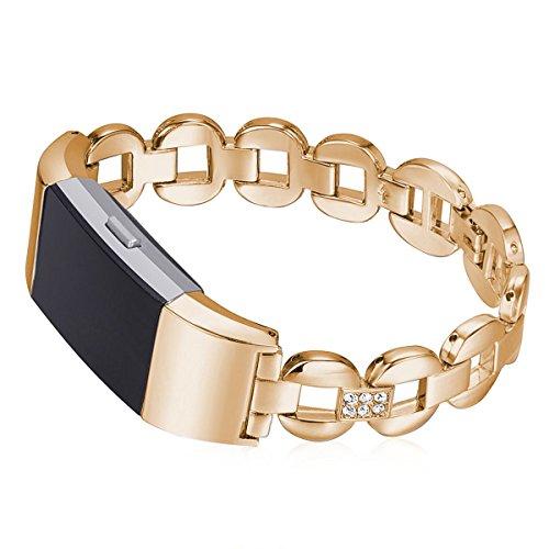 Armband voor Fitbit Charge 2, horlogeband Fitbit Charge 2 dames armbanden kristal metaal schakelarmband smartwatch armband fitness tracker met metalen sluiting roségoud + witte diamant.