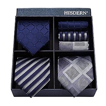 HISDERN Lot 3 PCS Classic Men s Tie Set Necktie & Pocket Square Elegant Neck Ties Collection,T3-10,One Size