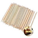 Bastoncini di Legno Arancione 100 Pezzi, MCSQK Stick per Cuticole in Legno a Doppia Faccia per Unghie, Stick per Unghie Multifunzione per Cuticole per Nail Art Remover Manicure Art Pedicure