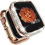 Tensea Metal Bling Case Compatible with Apple Watch Series 6 SE 5 4 44mm Full Cover Protective Screen Protector Diamond Metal Frame for Watch iWatch Gift for Women Girls (Rose Gold, 44mm)