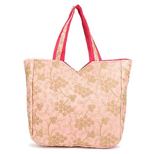 Arts & Crafts Vanya Handicraft Collection Ethnic Banjara Bag, Handicraft for women,Tote Cotton Handbag For Women (Baby Pink)