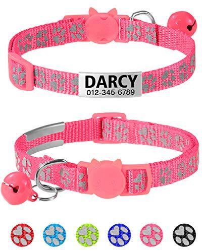 Taglory Personalisierter Reflektierend Katzenhalsband mit Sicherheitsverschluss & Glöckchen, Halsband Katze mit Namen & Adresse, 19-32cm Rosa