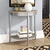 Half Circle Console Table, Small Semi-Round Entryway Table with 2 Spacious Shelves, Half Moon Table for Hallway with Classic and Minimalist Design, Gray Oak