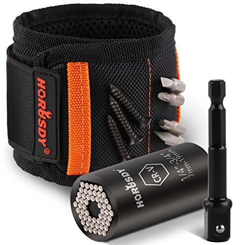 HORUSDY Magnetic Wristband & Universal Socket Grip (7-19mm) with Strong Magnets for Holding Screws, Nails, Drilling Bits, DIY, Tool Gift for Men