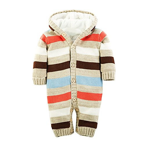 Minetom Baby Jungen Mädchen Herbst Winter Gestrickte Overalls Pullover Streifenmuster Rompers Mit Kapuze Beige 56-62