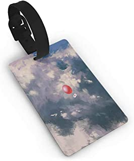 Men Luggage Tag Fantasy Art House Decor,Red Balloon with Love Heart Sign through Cloud Air Valentines Art,White Blue Boarding Tags