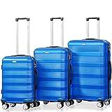Flieks 3tlg Trolley Reisekoffer Kofferset ABS Hartschalenkoffer 4 Zwillingsrollen Zahlenschloss Gepäck Koffer M-L-XL (Blau)