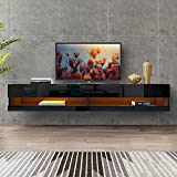 DMAITH 75 inch TV Stand with LED Lights, Floating Entertainment Center Media Console, Wall Mounted High Gloss Modern Storage Shelf for 80/82/86 Inch TVs, Black (004B)