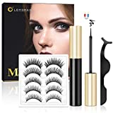 Magnetic Lashes and Liner, Lorchar Magnetic Eyelashes with Eyeliner,Upgrade Magnetic Eyeliner and Eyelashes, Natural Looking Magnetic Eyelashes, Magnetic Lashes with Applicator, 5 Pairs