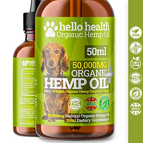 DOG CALMING HEMP OIL | High Strength Natural Organic Hemp Oil Drops...