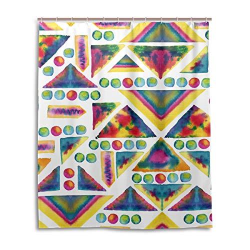JSTEL Decor Aquarell Rideau de Douche en Tissu 100% Polyester Motif Cercles et Rayures 152 x 183 cm