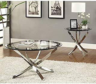 Amazon Com Round Glass End Tables Tables Home Kitchen