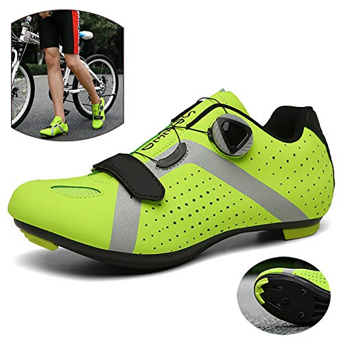 NNZZY Outdoor Road Cycling Shoes Lightweight Bike Shoes Breathable Biking Lock Shoes Not Easy to Peel Off for Long Term Riding Ride Safely,Green,44