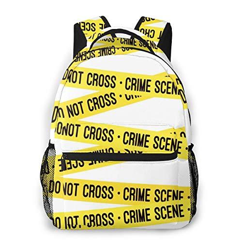 Laptop Rucksack Schulrucksack Science Crime Scene Tape, 14 Zoll Reise Daypack Wasserdicht für Arbeit Business Schule Männer Frauen