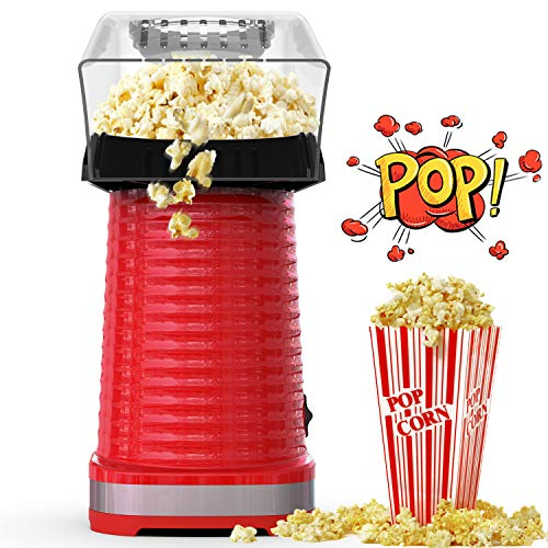 Hot Air Popcorn Maker Machine, Popcorn Popper for Home, ETL Certified, BPA-Free, No Oil, Healthy Snack for Kids Adults, Removable Measuring Cup, Perfect for Party Birthday Gift, Red-1200W