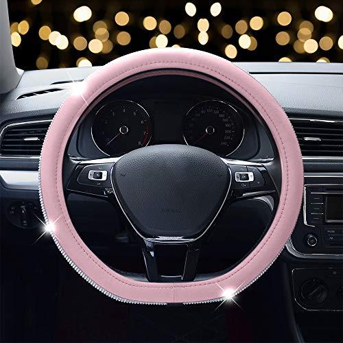 ZATOOTO Lenkradbezug Auto Typ D - Leder Lenkradbezüge Fit Flachboden-Lenkrad (Rosa)