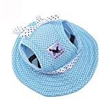 Leconpet Princess Pet Hat Dog Caps Hats with Neck Strap Adjustable Comfortable Ear Holes for Small Medium and Large Dogs in Ourdoor Sun Protection (M, Blue)