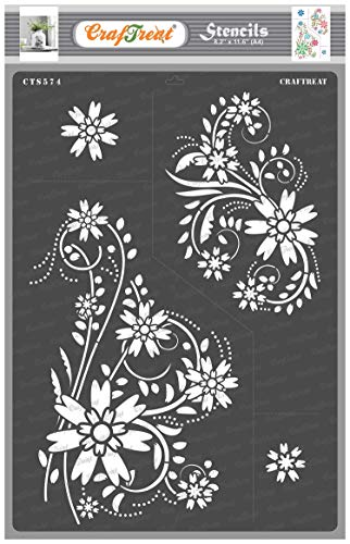 CrafTreat Floral Stencils for Painting on Wood, Canvas, Paper, Fabric, Floor, Wall and Tile - Floral Flourish - Size: A4 - Reusable DIY Art and Craft Stencils for Painting Flowers - Flourish Stencils