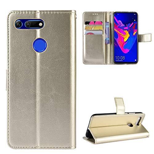 Snow Color Huawei Honor View 20 Hülle, Premium Leder Tasche Flip Wallet Case [Standfunktion] [Kartenfächern] PU-Leder Schutzhülle Brieftasche Handyhülle für Huawei Honor View20 - COBYU030428 Gold