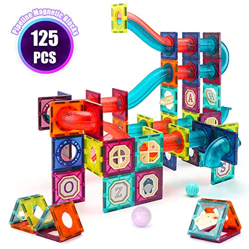 VATOS Magnetic Building Blocks for Kids X-Large 125PCS, STEM Educational Magnet Construction Toys Game for Boys and Girls, Magnetic Pipeline Building Tiles Creative Gift for Toddlers age 3 4 5 6 7 8