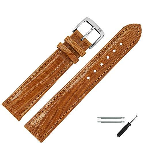 MARBURGER Uhrenarmband 20mm Leder Braun Eidechse (Teju) - Werkzeug Montage Set 8272034000120