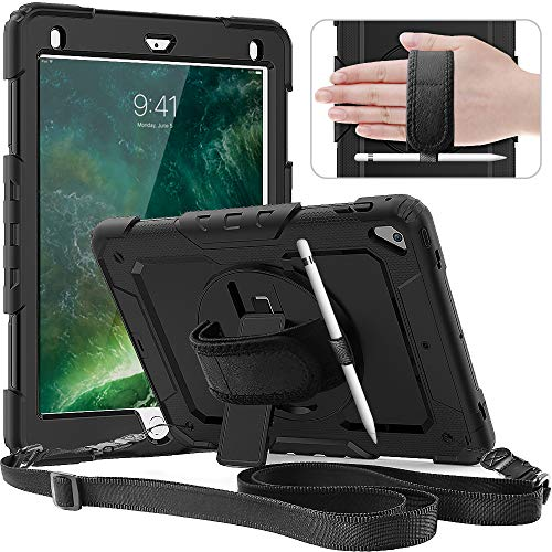 Timecity iPad 6th/5th Generation Case (2018/2017 Release),iPad Pro 9.7/Air 2 Case(2016/2014 Release).Heavy Duty Protective Cover with Built-in Screen Protector Pencil Holder Strap Rotating Stand-Black