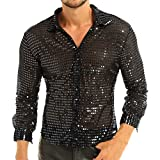 YiZYiF Men's Dress Shirt Shiny Sequins Long Sleeve Button Down 70s Disco Shirt Party Costume Black X-Large