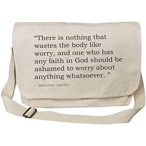 Azeeda Quote By Mahatma Gandhi Cotton Canvas Messenger Bag (MS00026009)