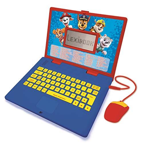 Lexibook Paw Patrol-Zweisprachiger Laptop für Bildungszwecke Englisch und Französisch, 124 Aktivitäten, Mathematik, Logik, Musik, Uhr, Spiele-Kinderspielzeug (Mädchen & Jungen) -JC598PAi3